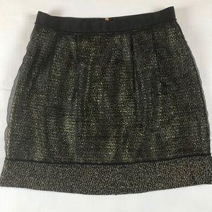 Ann Taylor Loft Black & Gold Dressy Skirt Size 8